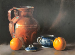 Copper Pitcher with Oranges