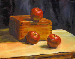 Apples and  a box, 12 x 16