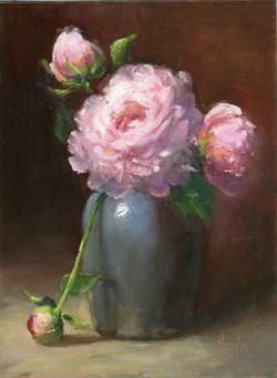 Peonies in a blue Vase
