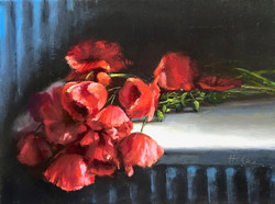 Red Poppies on Wicker chair