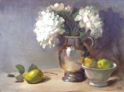 Hydrangea in silver Vase