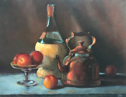 Vine bottle with peaches, 18 x 24