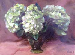 Hydrangea in green Vase