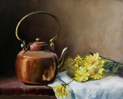 Copper Pot with yellow Geraniums