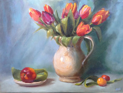 Tulips with red Plumb