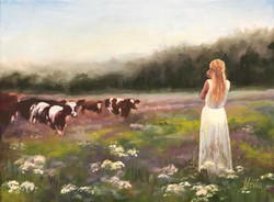"""N/A Singing to the cows, 12 x9"""""""