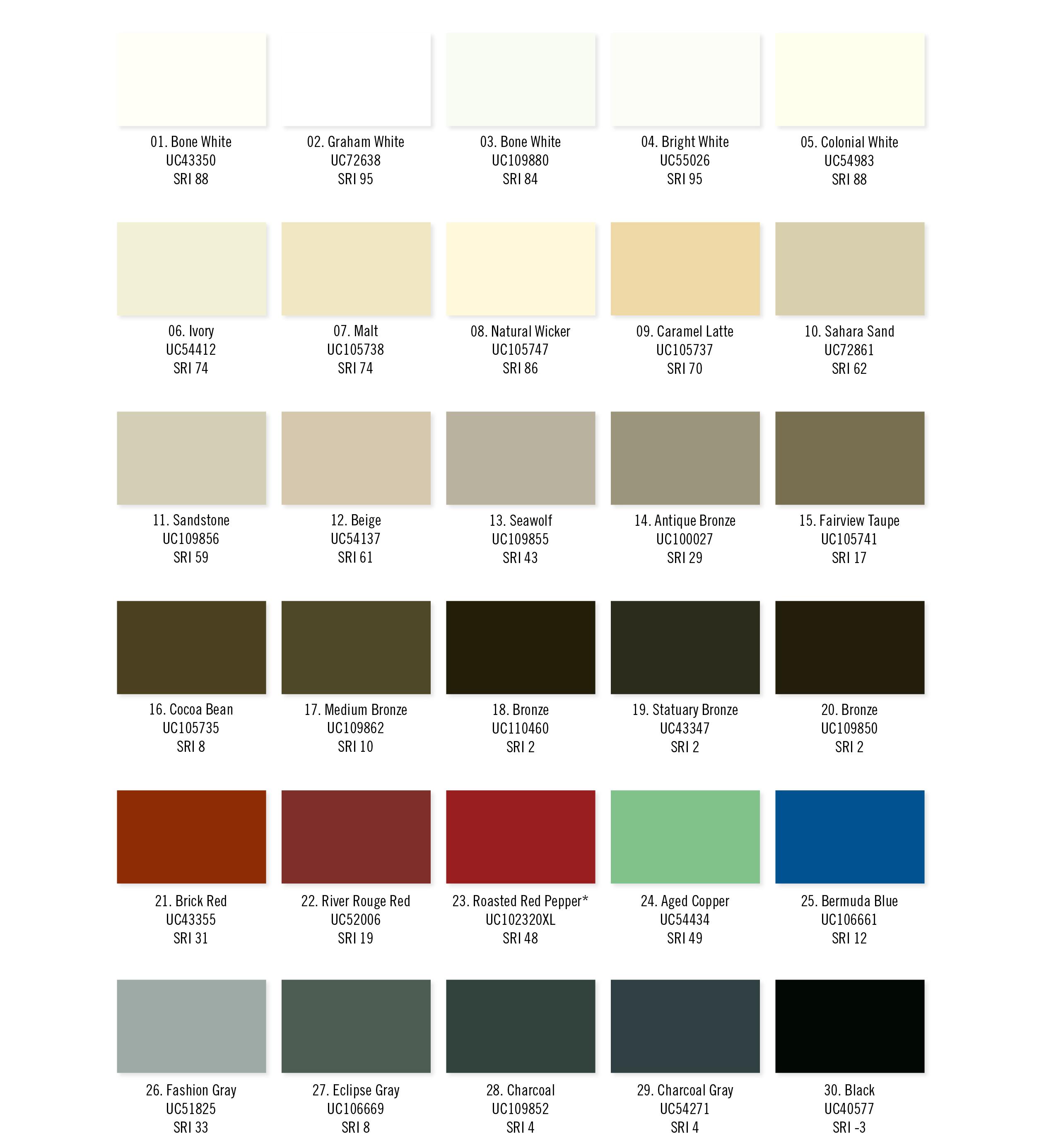 Moulures modernes - Charte - couleur - PPG