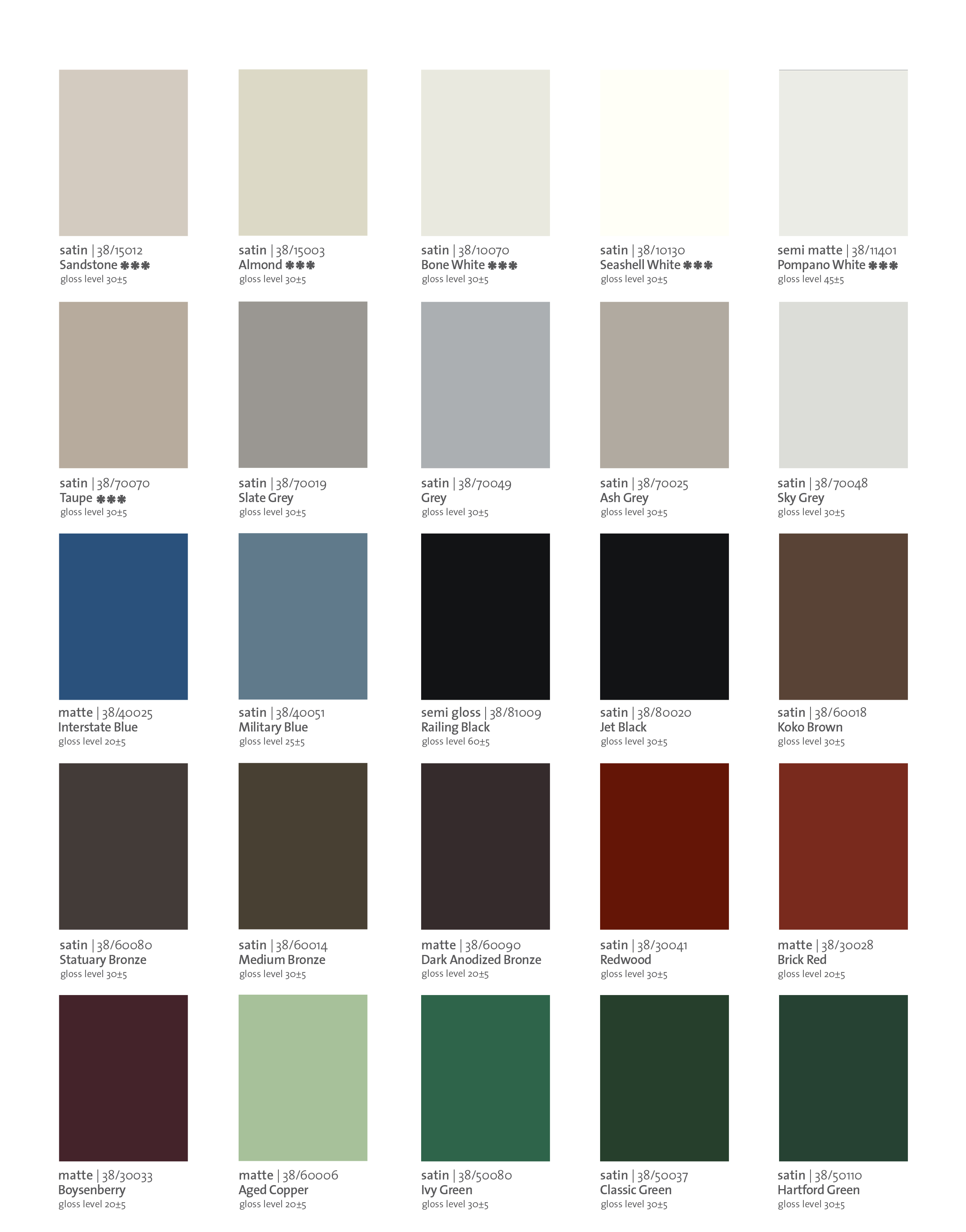 MOULURES MODERNES   COLOUR CHART