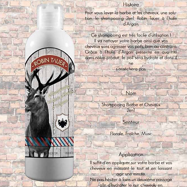 Shampooing Barbe et Cheveux Robin Tauer 250ml