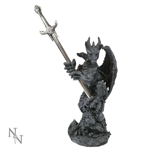 Slayer Obsidian Dragon Holding Sword Letter Opener