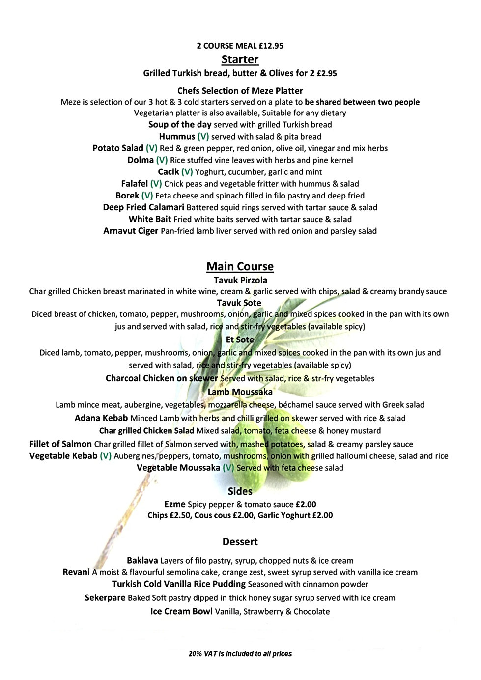 Green Olive Bridgwater Meal Deal Menu