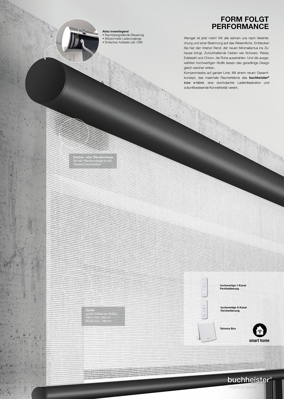 buchheister tube e-blind Wandmontage mit Motor