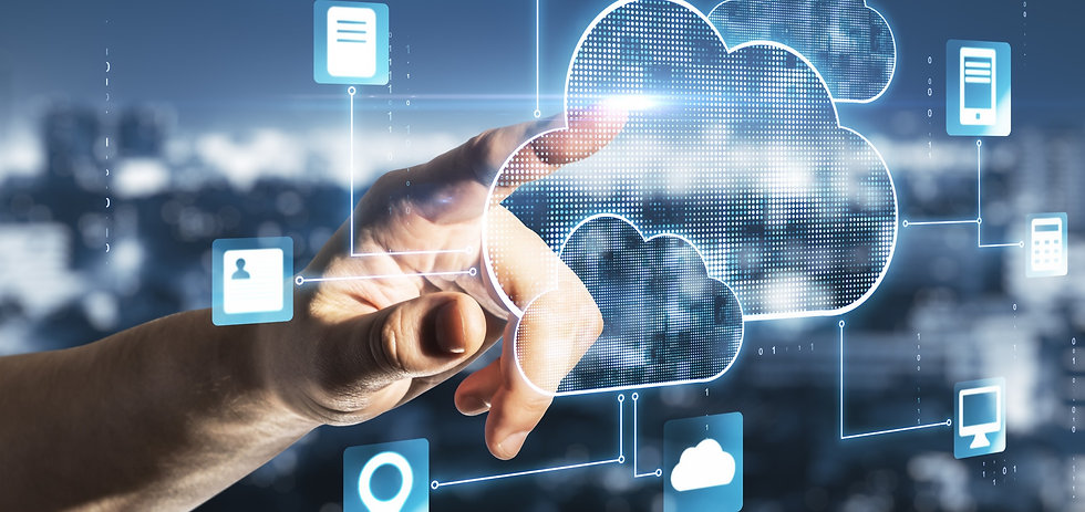 Cloud service concept with man finger touching digital screen with cloud service applicati