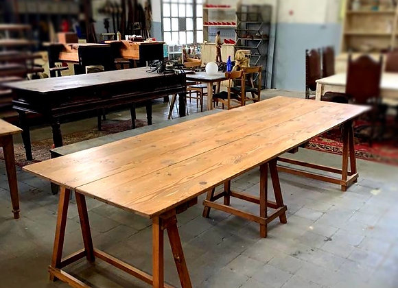 Wooden sawhorse dining table from 1950