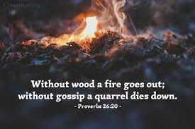 11/17/2019 Without wood a fire goes out; without gossip a quarrel dies down (火缺了柴就必熄滅;無人傳舌,爭競便止息。)