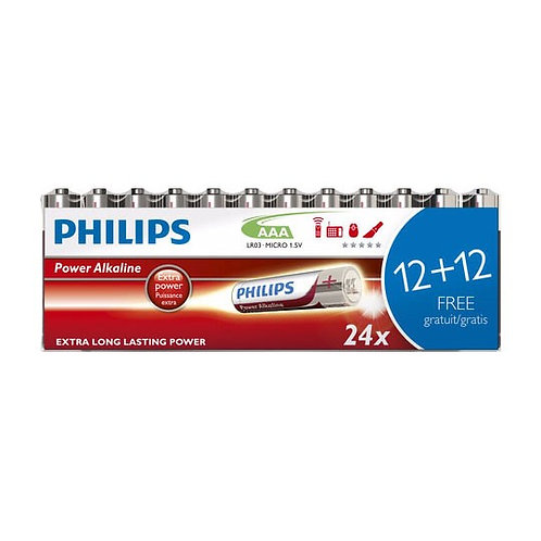 AAA Philips PowerLife Batteries (24pack)