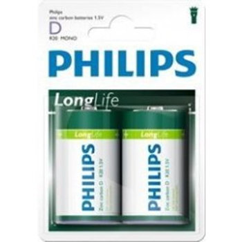 D Philips Long Life Batteries R20 (x2)
