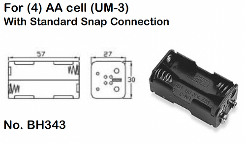 4 AA Battery Holder - Standard Snap