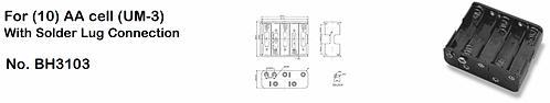 10 AA Battery Holder - Standard Snap