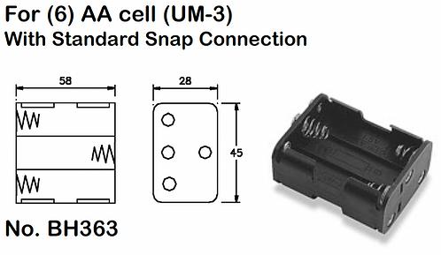 6 AA Battery Holder - Standard Snap