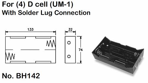 4 D Battery Holder - Solder Lugs