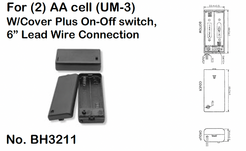 """2 AA Battery Holder - 6"""" Wire Leads - Cover - Switch"""