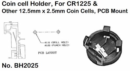 CR1225 Battery Holder - PCB Mount