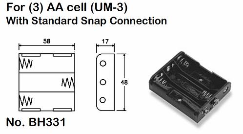 3 AA Battery Holder - Standard Snap
