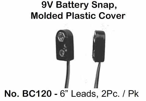 """9V Battery Snap - Molded Plastic - 6"""" Leads - 2 Pack"""