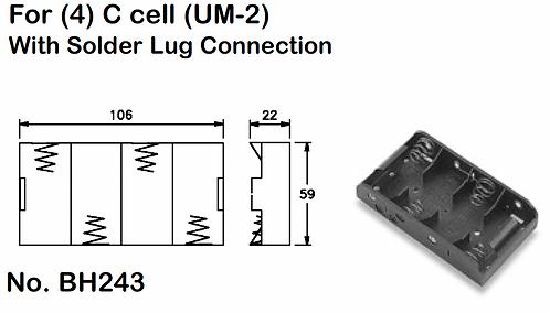 4 C Battery Holder - Solder Lugs
