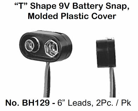 """9V Snap - T Shape Molded Plastic - 6"""" Leads - 2 Pack"""