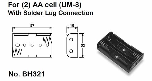 2 AA Battery Holder - Solder Lugs