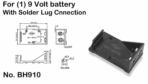 9V Battery Holder - Solder Lugs
