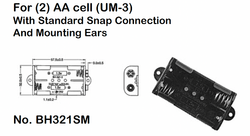 2 AA Battery Holder - Standard Snap - Mounting Ears