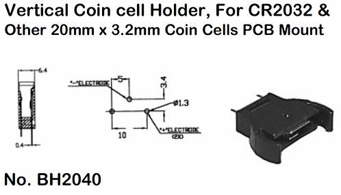 CR2032 Vertical Battery Holder - PCB Mount