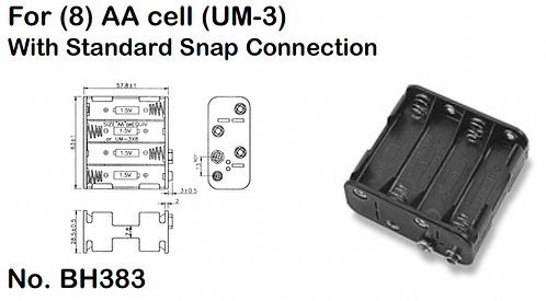 8 AA Battery Holder - Standard Snap