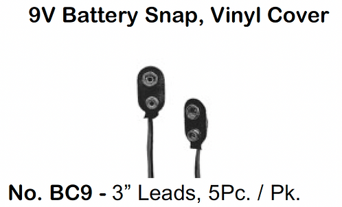 "9V Battery Snap - 3"" Leads - 5 Pack"