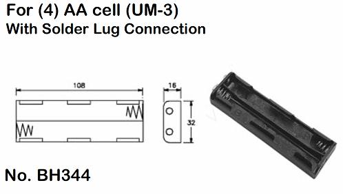 4 AA Battery Holder - Solder Lugs