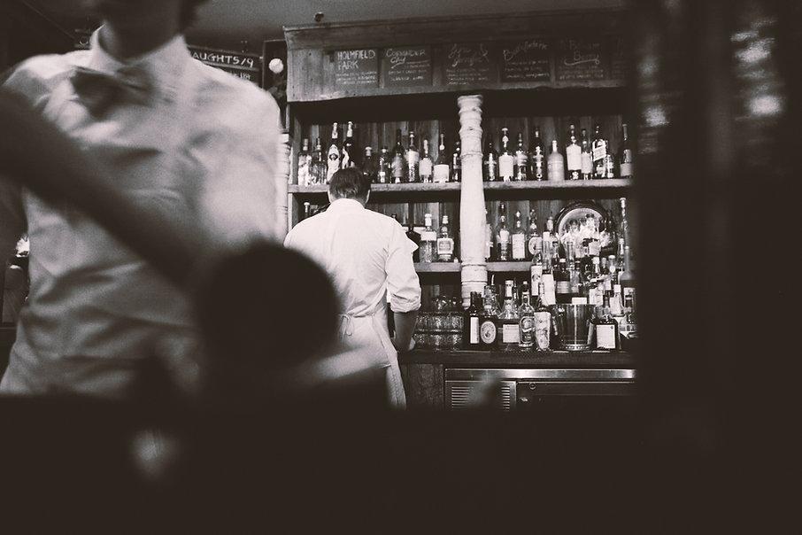 black and white alcohol bar barkeeper