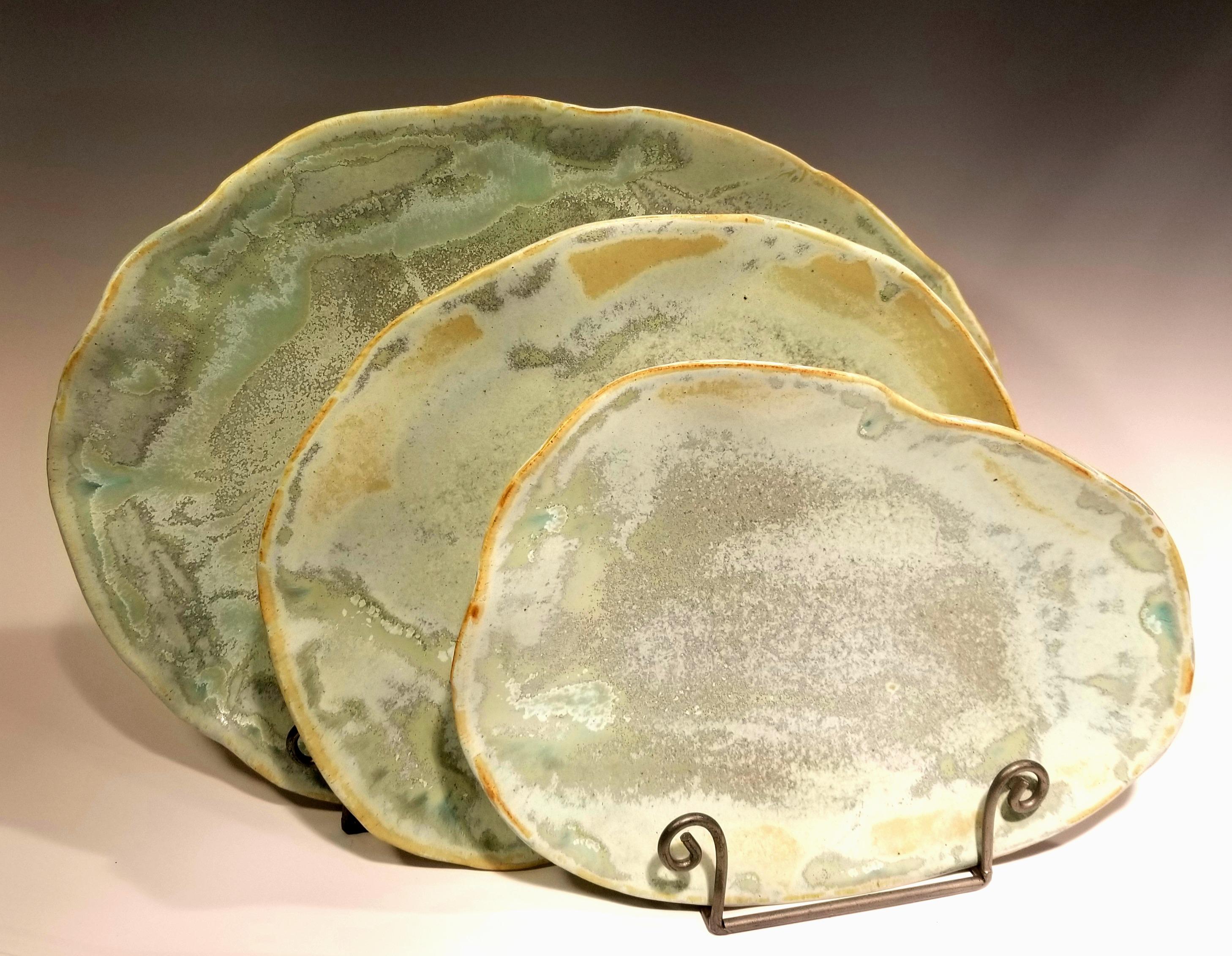 Seafoam Plate Trio, $115