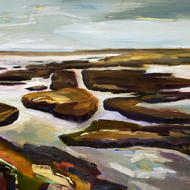 "Silver Light: 24""x36"", 2018, Oil/Oil Pastel on canvas"