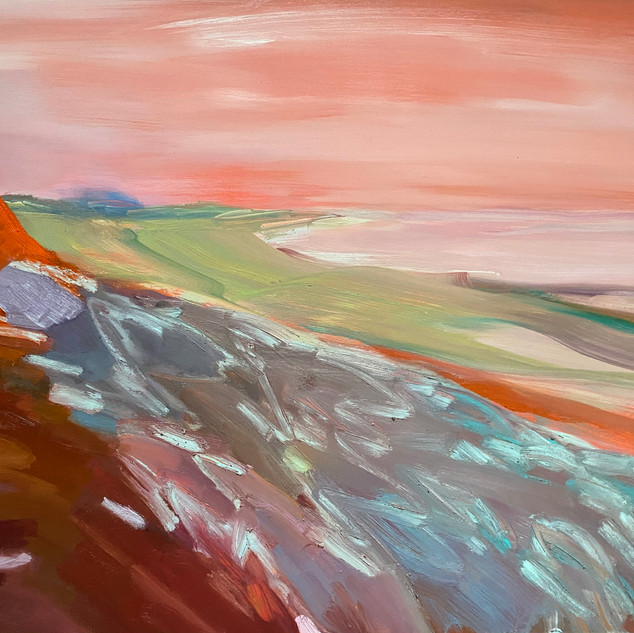"Sandy Point Swells:24""x30"", 2020, oil on wood panel"