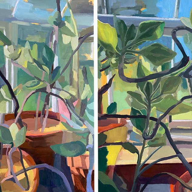 """Our Glass House Diptych:24"""" x 60.5"""" x 1.5"""", 2020, oil on two wood panels"""