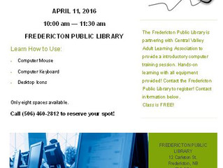 FREE Computer classes in Downtown Fredericton, April 11th 2016