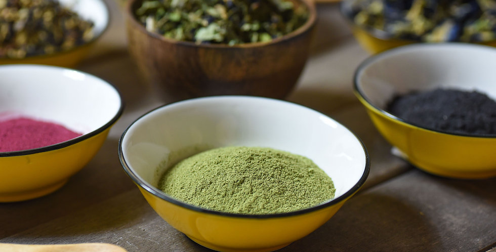Kaffir lime leaves powder. Use this to make your own Kaffir lime leaf spice blend for BBQ meat.