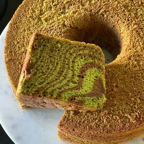 PANDAN CHOCOLATE SWIRL CHIFFON CAKE RECIPE