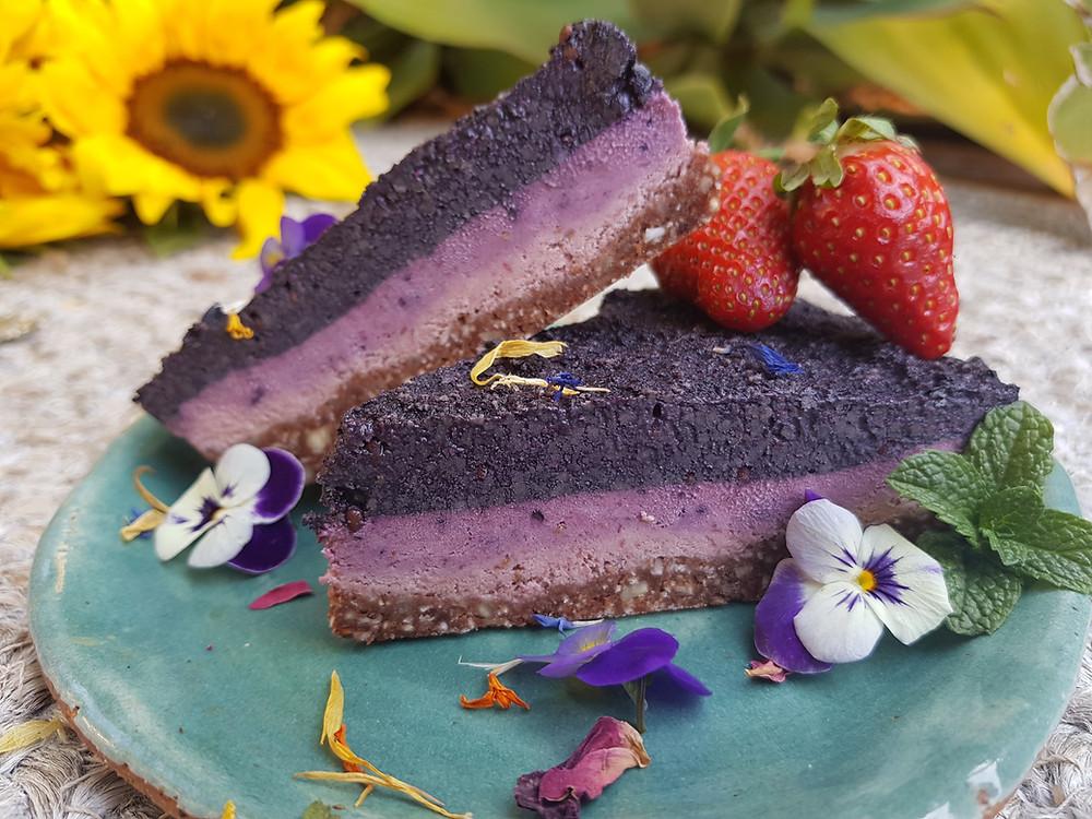 Raw Purple Sweet Potato Cheesecake | Vegan | Blue Tea