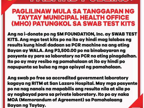 Health Office's Clarification On Swab Test Kits
