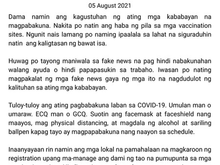 Health Department's Message and Advisory