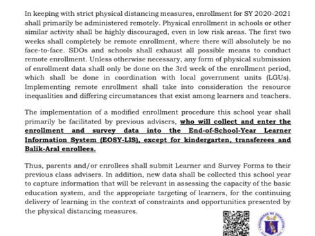 Department of Education's Guidelines for Enrollment Process in Public Schools